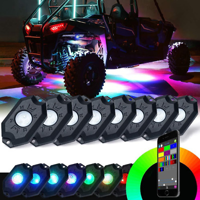 8X RGB LED Bluetooth Unterboden Beleuchtung Rock Licht Atmosphäre Offroad AF