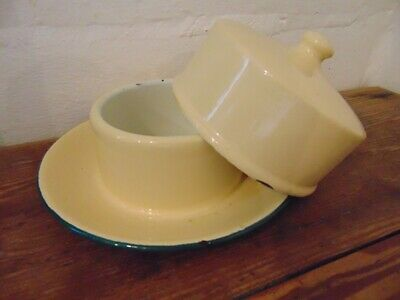 antique  butter dish   , french enamel