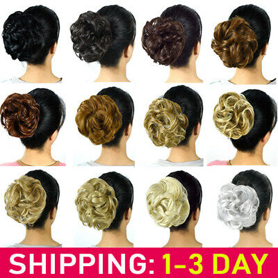 LARGE Curly Messy Bun Hair Piece Scrunchie Thick Hair Updo Extension Full HeadUK
