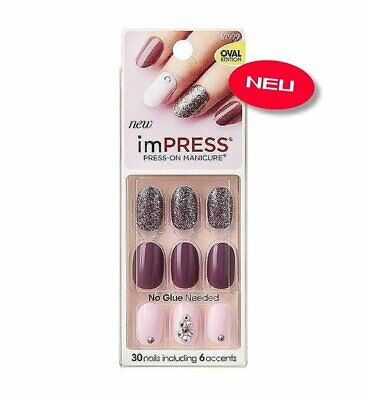 imPRESS Nails GOSSIP GIRL Oval Strass Künstliche Fingernägel Press-On Kiss