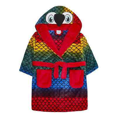 Kids Children Boy Girl Parrot Dressing Gown Robe Colorful Tail Warm Cosy  2-6 Y