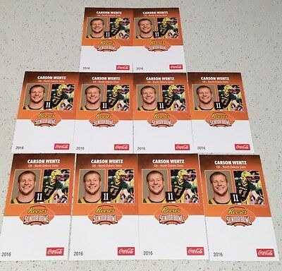Carson Wentz Philadephia Eagles Football Rookie Cards Senior Bowl Lot (10) NFL