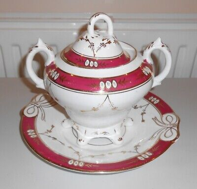 Antique Victorian China Lidded Bowl & Plate Pink White & Gilt                Ct