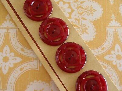 6 Vintage French Art Deco Casein 40s unused Buttons 22mm Sew Craft Jewelry Knit
