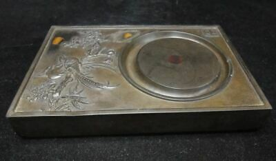 Fine Chinese Old Natural Stone Hand Carving Birds Flowers Ink Stone Ink Slab