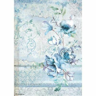 Rice Paper - Decoupage - Stamperia - 1 x A4 Size Sheet - Blue Land Flower