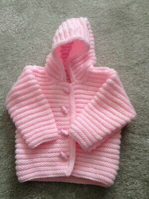HANDMADE TO ORDER Hand Knitted Pink Hoodie