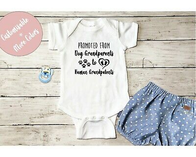 Promoted from dog grandparents to human grandparents nana baby reveal romper