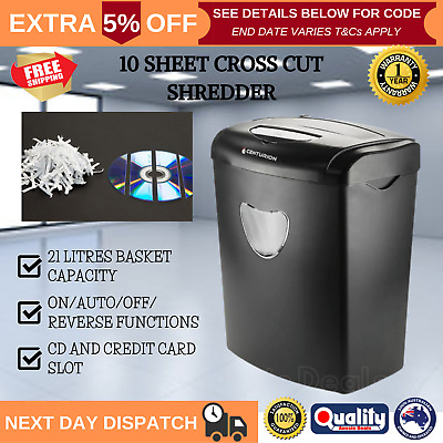 21L Electric Paper Shredder Cross Cut Credit Cards CD 10 A4 Sheets Home Office