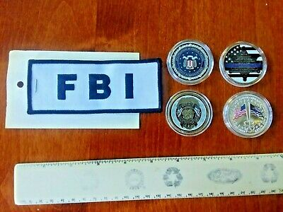 (5) FBI Federal Bureau Of Investigation St. Michael Challenge Coins & Patch Lot