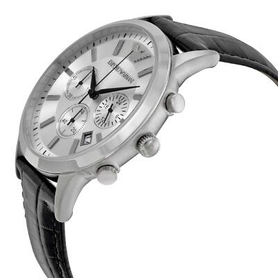 Brand New Emporio Armani Chronograph Silver Dial Leather Men Watch Ar2432