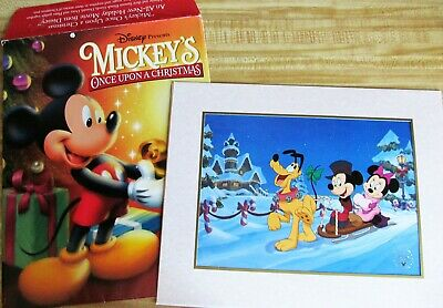 Mickey Mouse Once Upon A Christmas.Disney Exclusive Mickey Mouse Once Upon A Christmas Minnie Pluto Lithograph 1999