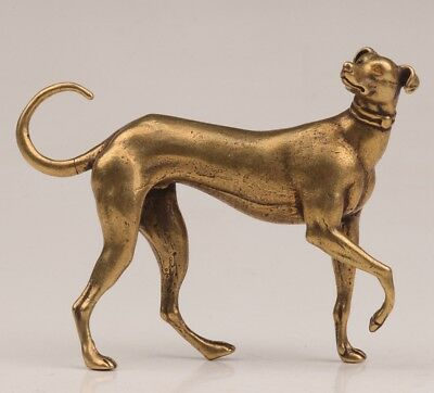 Chinese Solid Casting Copper Handmade Carved Greyhound Dog Statue Old