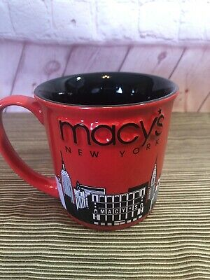 New York NYC Macys Coffee Mug Tea Cup 2013 3D Red and Black GHA Gift