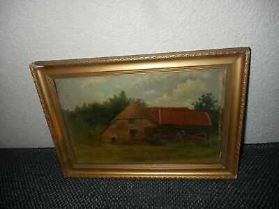 Very old oil painting,{ Landscape with a farm near the woods }. Is antique!