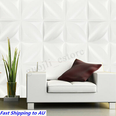 12Pcs 3D Wall Panel Covering Sticker Wallpaper Paintable DIY Home Decal