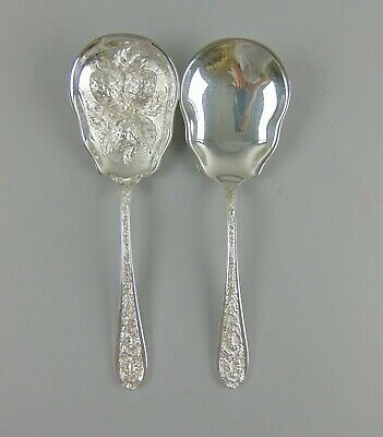 Pair of Stieff Silver CORSAGE Sterling Berry Spoons Plain & Repousse Bowls