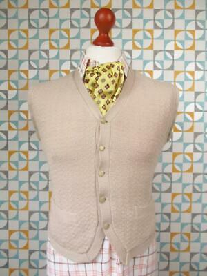 S 36R - Vintage 70's Wolsey Mens Cream Wool Waistcoat Knitted Vest - I535