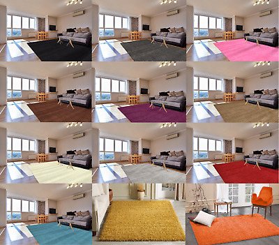 Soft Thick Plain Shaggy Rug Living Room Bedroom Floor Rug Carpet Non Shed 55mm
