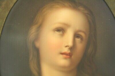 19thc KPM Style Hand Painted Religious Icon Porcelain Plaque Mary Magdalene NR