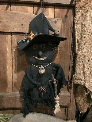"""Primitive Country Witch HALLOWEEN Bittersweet Spinner Gourd Broom Black 18"""" FALL"""