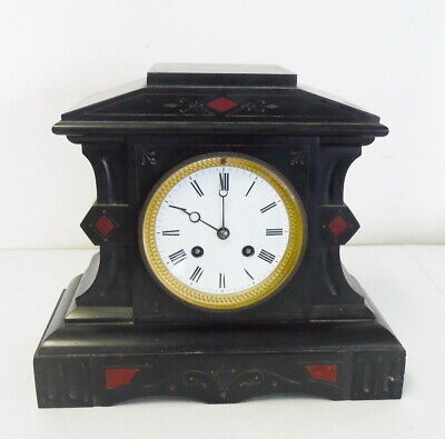 Antique French Black Slate 8 Day Time & Strike Mantle Clock ~ Free Shipping