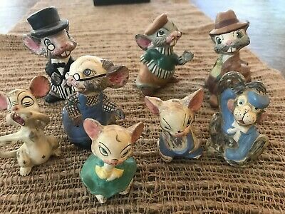 Antique 1919 8 Bisque Nodder Clay Mice Family German? Hand painted & signed RARE