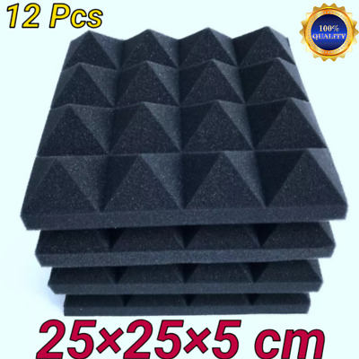 Soundproofing Foam 12 Pcs Acoustic Studio Tiles Wedge Panels Pack Wall Sound New