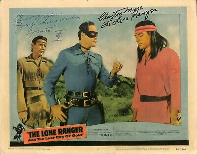 JAY SILVERHEELS and CLAYTON MOORE Autographed Movie Lobby Card PSA/DNA COA