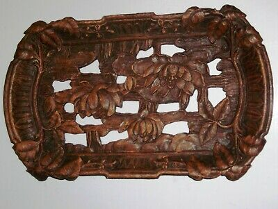 """Syroco Wood Dish Plate Rectangle Open Cut Lotus Flower Design 12"""" x 7"""" x 1-1/2"""""""