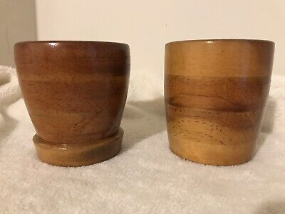 Lot Of 2 Small Round Wooden Plant Holder Flower Pot Minimalist Wood Nature Seeds