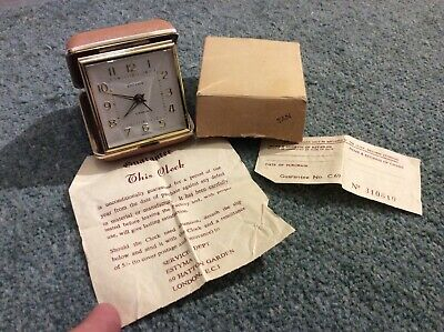 Vintage Estyma Wind Up Travel Alarm Clock 2 Jewels Made In Germany