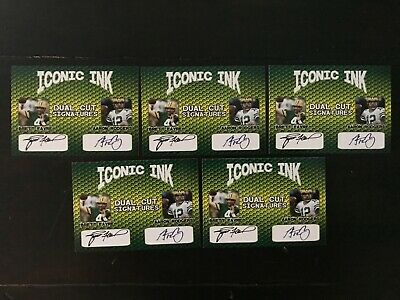 """(5)Favre & Rodgers  Dual Cut Signatures  Iconic Ink Facsimile Packers  """"Wow """""""