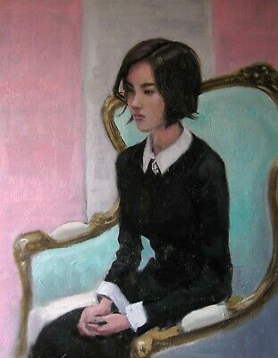 Young girl sitting (original oil study)