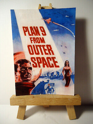 Plan 9 Outer Space movie poster 1940 ACEO Original PAINTING by Ray Dicken