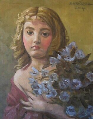 SALE! Little girl with flowers (original oil painting)