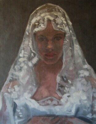 SALE! Young woman in a veil (original oil painting)