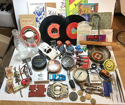 Vintage Junk Drawer Lot Man Cave Tools Toys Cars Tokens Maps Books Coca Cola