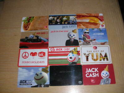Jack In The Box   12 different new and used collectible gift cards