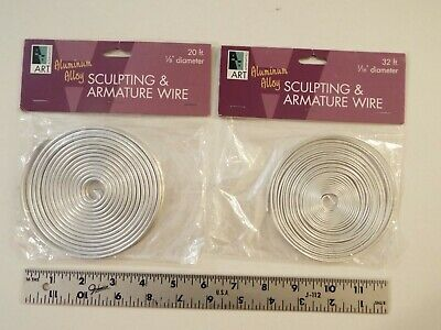 "2 New-Aluminum Alloy Sculpting & Armature Wire-1/8"" 20 Ft-1/16"" 32Ft-Art Supply*"
