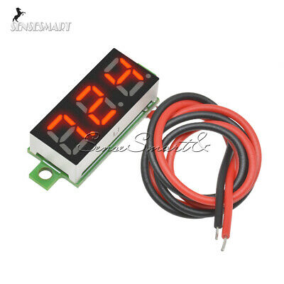 "10x 0.28"" 2 Wire Mini Digital Voltmeter Gauge Panel Mount LED Voltage Volt Meter"