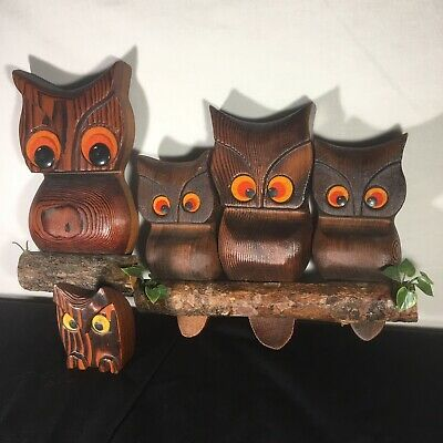 Vintage Owls WITCO style Wood Carved Wall Art MCM Kitsch Lot Decor Set Of 3