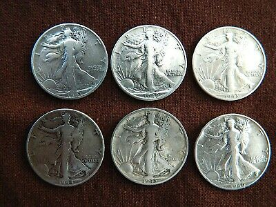 6 WALKING LIBERTY HALF DOLLARS - 90% SILVER - LOT SS - COLLECTION of OLD COINS !