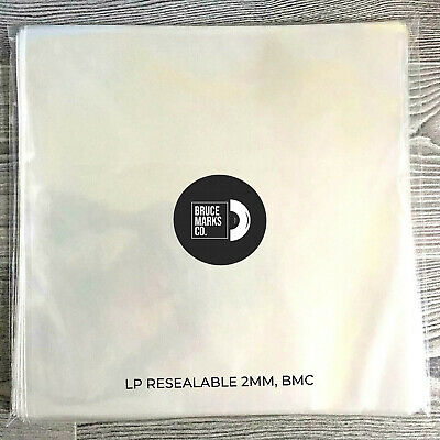 """12 pcs. Strd RE-SEALABLE Vinyl Record Sleeves 12"""" for LPs - 2MM"""