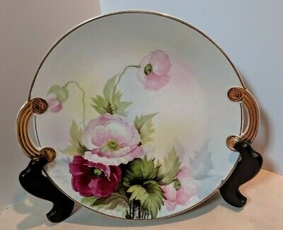 Hand Painted Nippon Plate With Gold Handles