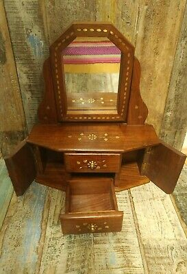 Ethical Fair Trade Hand Made Indian Rosewood Inlay Jewellery Cabinet With Mirror