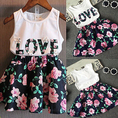 Ld_ Uk_ Lx_ Girls Sleeveless Love Letters Vest Tops + Floral Skirt Two Piece S