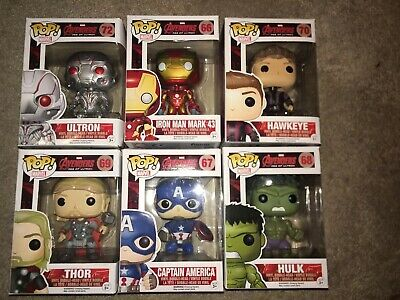 Funko Pop Lot Avengers Captain America Thor Hulk Ironman Hawkeye And Ultron
