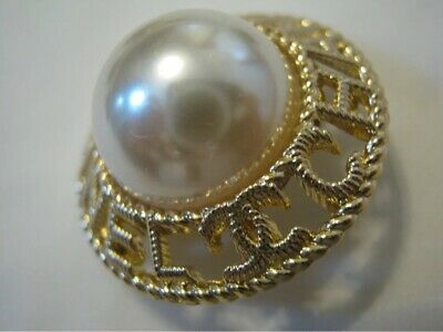 LOT Of 3 Chanel CC Gold and Pearl Button High Quality .6 inch 17 mm