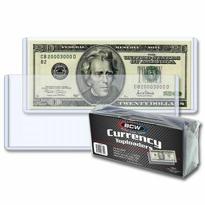 25 BCW CURRENCY TOPLOADERS Hard Rigid Holders for Banknotes Money US Dollar Bill